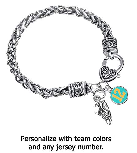 Edge Sports Team Colors Turquoise & Gold Braided Silver Running, Cross Country, Track Bracelet (Personalize with Player Number) - Large