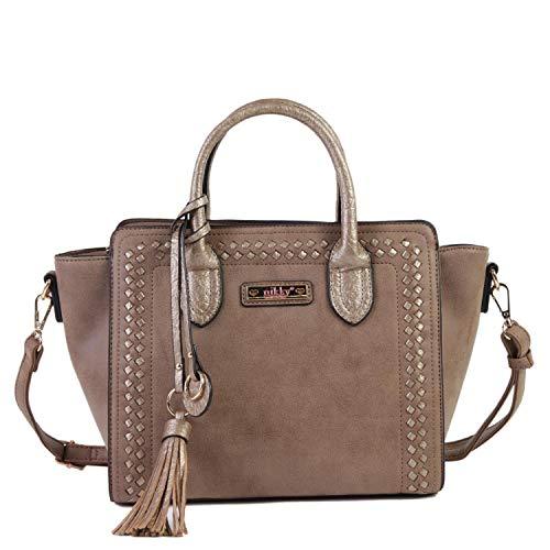 (Nicole Lee Women's Top Handle Brown Satchel Bag, Spacious Compartment, Decorative Tassel Travel Shoulder, One Size)