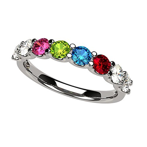 NANA U'r Family Ring 1 to 9 Simulated Birthstones - Sterling Silver - Size 7
