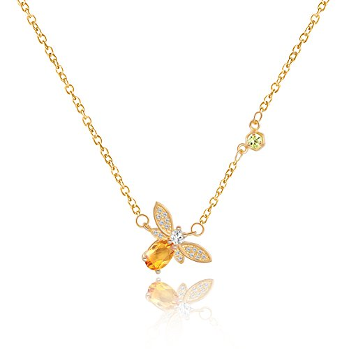 Bee Necklaces for Women Amber Fashion Bees Jewelry Dainty Charm Pendant Necklace Cluster Gardener Beekeeper Gifts ()