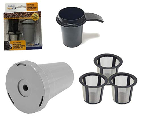 GoldTone Brand Reusable Single Serve Starter Kit for Keurig Includes - (1) My K-Cup Filter Housing, (3) Reusable K-Cup Filter, (1) 1 OZ Coffee Scoop - BPA Free