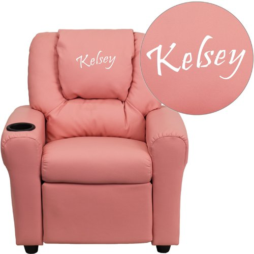 Flash Furniture Personalized Pink Vinyl Kids Recliner with Cup Holder and Headrest