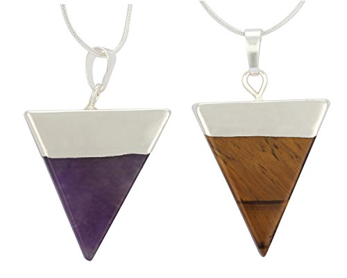 Natural Amethyst & Tiger Eye Healing Crystal Reiki Chakra Triangle Cut 18-20 inch Gemstone Pendant Necklace (2pcs) Great Gift #GGP-A-S4