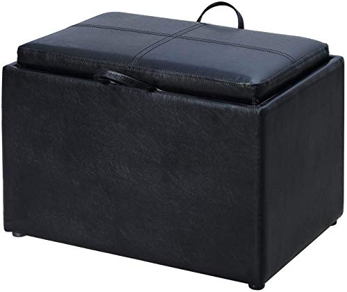 Convenience Concepts Designs4Comfort Storage Ottoman, Black (With Tray Lid Ottoman)