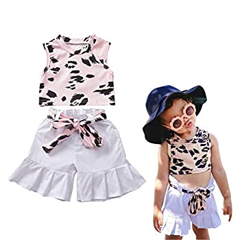 Toddler Child Ladies Outfits 2Pcs Youngsters Leopard Sleeveless T-Shirt Vest Crop Tops and Shorts Pants Summer time Garments Units