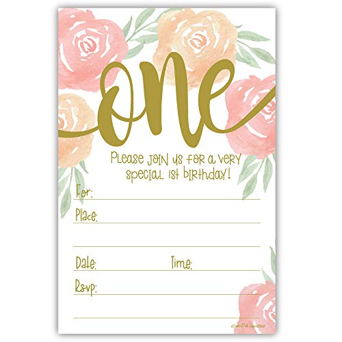 Watercolor Floral Girl 1st Birthday Invitations - Fill in Style (20 Count) with Envelopes ()