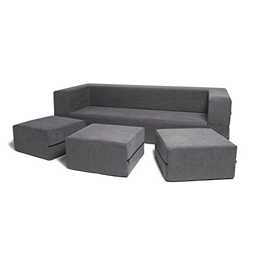 Jaxx Zipline Giant 3-Seat Sofa/California King Mattress, Premium Distressed Cotton, Grey