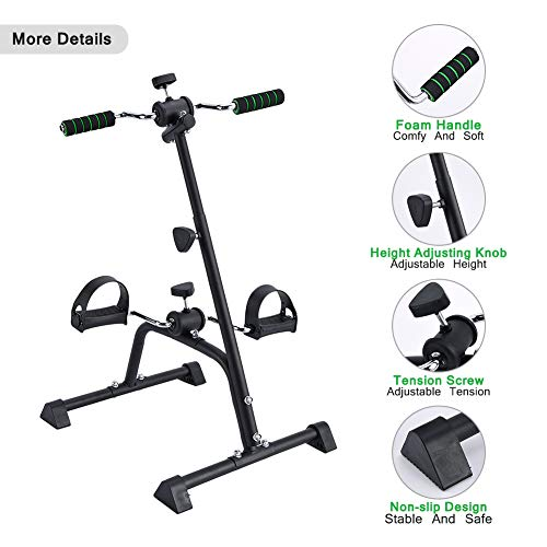 Synteam Compact Exercise Bike Arms and Legs Adjustable Fit Sit Peddler Exerciser for Elder (Black) by Synteam (Image #2)