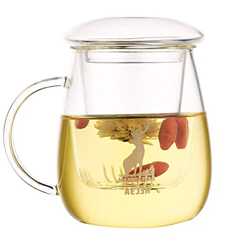 Glass Tea Infuser Cup/Mug/Maker with Lid, Strainer & Handle 17oz/500ml, Borosilicate Glass Teapot-For-One Set for Loose Teas & Flowers, Elk Pattern, Gift Box Package
