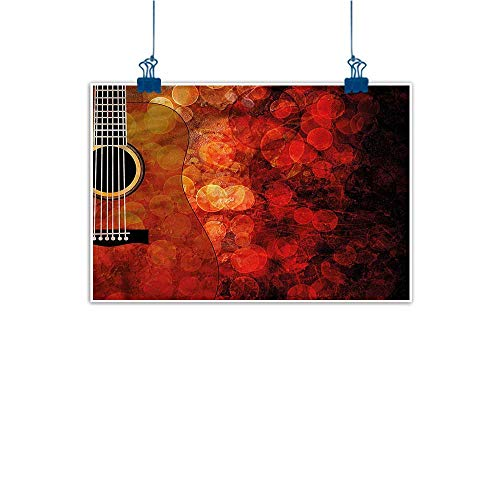 (Warm Family Abstract Painting Music Acoustic Guitar Body Melody Natural Art 24
