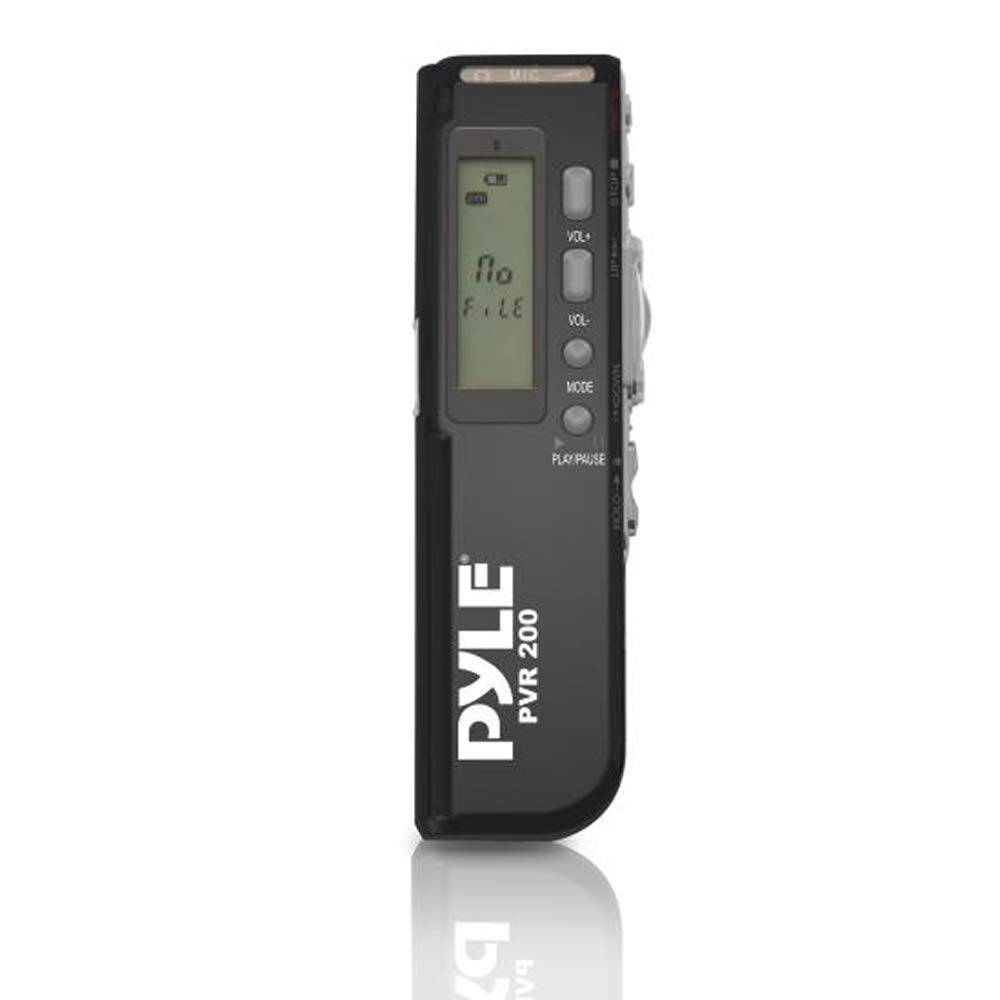 Digital Voice Recording System Device - Voice Activated Audio Recorder with 4GB Built-in Flash Memory, Speaker, Microphone & Headphone Jack for Lecture, Class or Meeting - Pyle PVR200