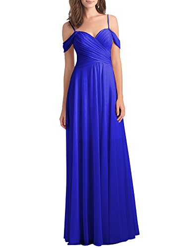 Dresses Long Off Line Prom Womens Chiffon Party 2018 The Blue Royal A Bridesmaid Shoulder 1z004Zq
