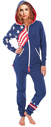 SkylineWears Women's Onesie Fashion Printed Jumpsuit Right US-Flag Dk Blue S