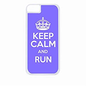 Keep Calm And Run-(Purple)-Hard White Plastic Snap - On Case with Soft Black Rubber Lining-Apple Iphone 5 - 5s - Great Quality!