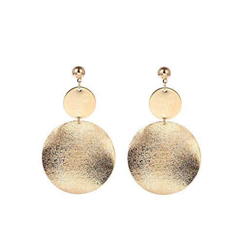 (Gold Dangle Geometric Earrings Drop Grind Asymmetric Earrings Jewelry for Women Snowpra)