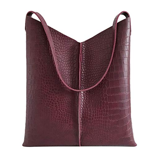 Women's Tote Bags,YuhooSUN Large Capacity Leather Solid Color Crocodile Pattern Versatile Shoulder Bag Wallet Red (Pattern Crocodile Solid)