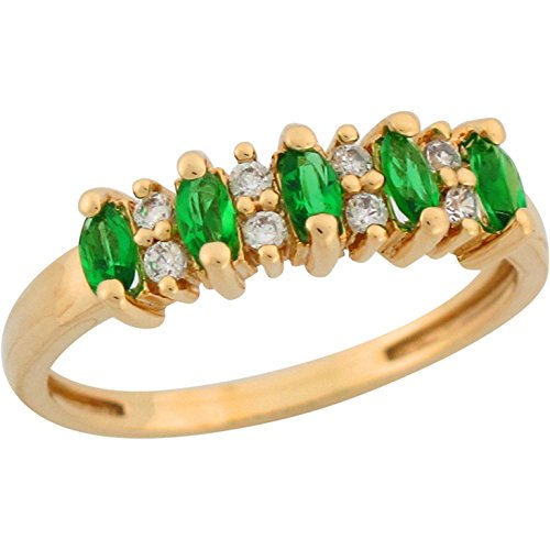 Jewelry Liquidation 10k Yellow Gold Simulated Emerald White CZ Accent Petite Ladies Band Ring
