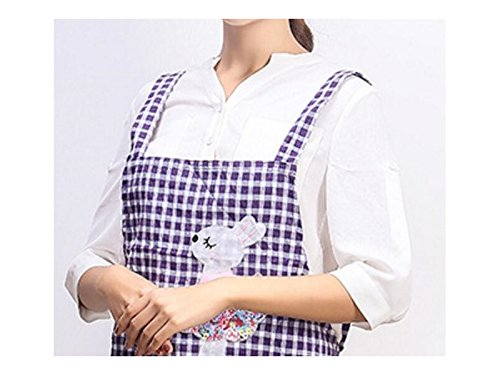 Gelaiken Perfect Cartoon Classic Lattice Animal Rabbit Printed Apron Sleeveless Household Apron Pocket(Purple)