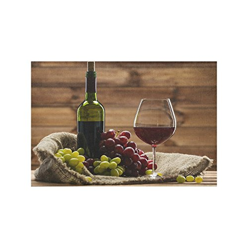 INTERESTPRINT Tasty Red Wine Fabric Placemat Plate Holder Set of 6, Heat Insulation Resistant Grapes Fruit Table Mats Protector 12