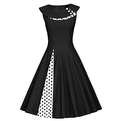 Fashion Womens Sleeveless Vintage Dress O-Neck Retro Dot Print Patchwork Dress