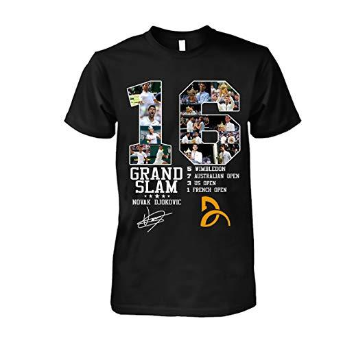 89trends Global Novak 16 Grand Slam Djokovic T-Shirt Black (Novak Djokovic And The Rise Of Serbia)