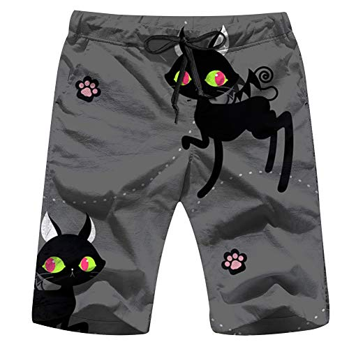 Happy Halloween Animal Pet Black Animals Men'S Swim Trunks and Workout Shorts Swimsuit Or Athletic Shorts - Adults Boys XXL]()