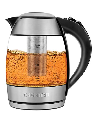 Chefman Electric Glass Kettle, Fast Boiling Water Heater w/ Auto Shutoff & Boil Dry Protection, Separates from Base for Cordless Pouring, BPA Free, Removable Tea Infuser Included, 1.8 Liters (Electric Tea Kettle With Steeper)