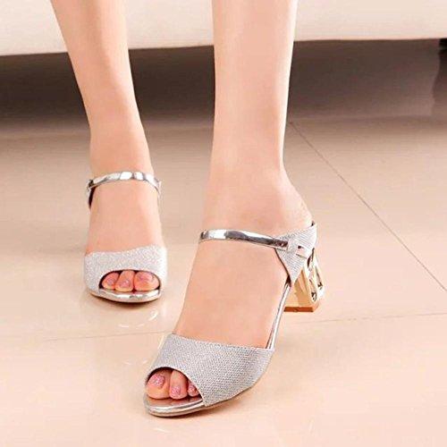 Los estudiantes en los zapatos gruesos con cabeza de pescado con sandalias zapatos de las sandalias Silver