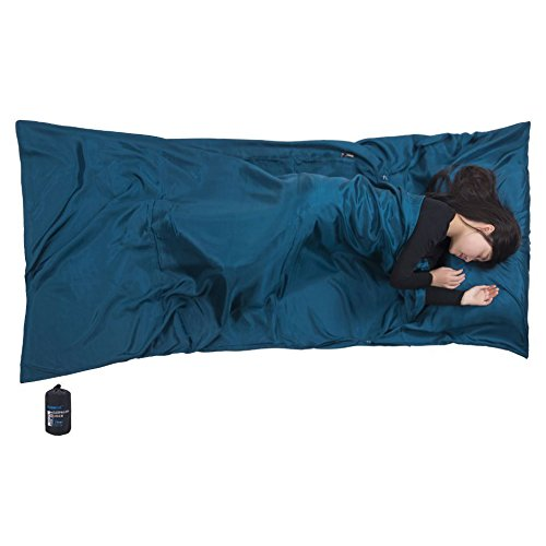 Browint Silk Sleeping Bag Liner, Silk Sleep Sack, Extra Wide 87x43, Lightweight Travel Sheet for Hotels, More Colors for Option, Reinforced Gussets