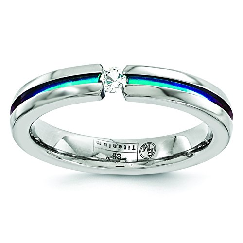 Multi Colored Sapphire Band (Edward Mirell Titanium White Sapphire Multicolored Anodized 4mm Band)
