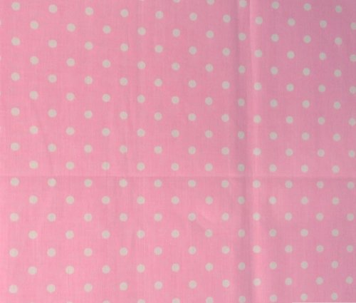 Small Polka Dot Poly Cotton White Dots on Pink 58 Inch Fabric By the Yard - Polka Fabric Dot Pink White
