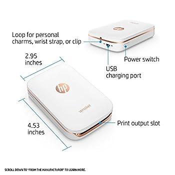 Hp Sprocket Portable Photo Printer, X7n07a, Print Social Media Photos On 2x3 Sticky-backed Paper - White 2