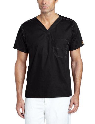 Carhartt Unisex V-Neck Chest Pocket Scrub Top, Black, X-Large
