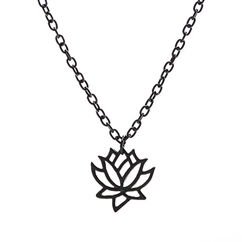 LLguz Elegant Women Fashionable Simple Hollow Lotus Flower Charm Necklace Pendant Chain Gold Silver Jewelry Gift (Flower Charm Pendant Jewelry)