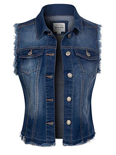 Design by Olivia Women's Frayed Hem Casual Hi-Low Pocket Denim Vest Medium Denim S ()