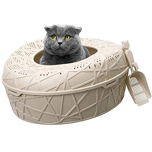 Happy Pets Unique Elegant Design Cat Litter Box with Scooper