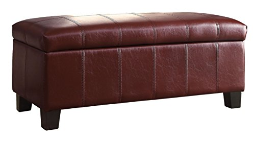 Leather Accent Bench (Homelegance Lift Cushioned Top Storage Bench Faux Leather,)