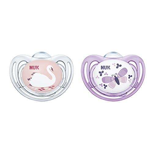 NUK Airflow Orthodontic Pacifiers, Girl, 0-6 Months, 2-Pack