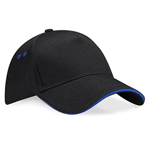 Ultimate cap Unisex panel with Negro contrast Beechfield royal sandwich peak Azul 5 w5Axqnd6