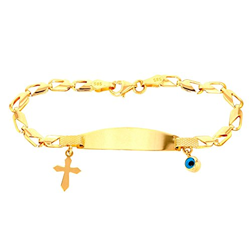 Polished 14k Gold Religious Cross Baby Bracelet with Blue Evil Eye 6'' by Evil Eye by Jewelry America