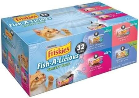 Friskies Seafood Nutrition Wet Cat Food Fish-A-Licious Variety Flavor Pack, 5.5 oz Cans, Savory Tasty Treasures, Protein Healthy Vision Muscle Development for Adults and Kittens by Friskies