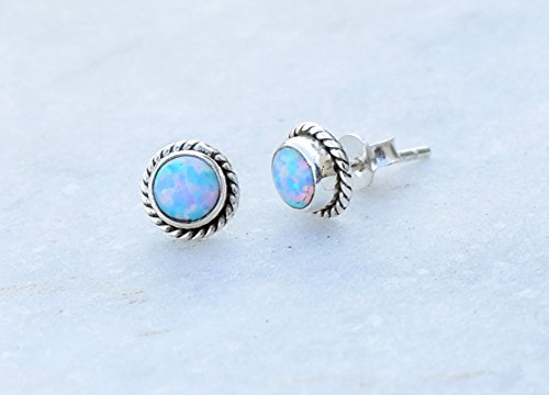 Light Blue Opal Stud Post Earrings, Lab Opal Post Earrings, 925 Sterling Silver Stud Size 6 MM ()