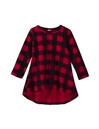 Sumen Toddler Baby Girl Plaid Print Long Sleeve Dress