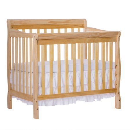 Mini Convertible Crib - Natural - 4-in-1 Fixed-Side - Crib Converts Into Daybed and Twin Size Bed - Unisex - Wood Material - Solid Frame - Solid Pine Wood Finish, BONUS E-book