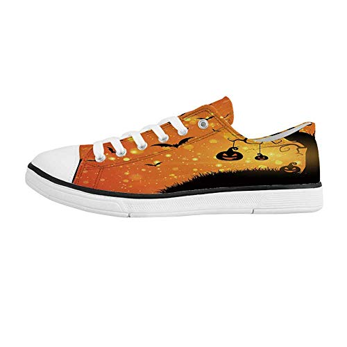 Halloween Comfortable Low Top Canvas Shoes,Magical Fantastic Evil Night Icons Swirled Branches Haunted Forest Hill Decorative for Men Boys,US 8 -