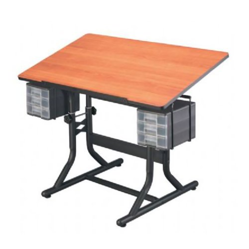 Alvin Home Office CraftMaster Art Drawing and Hobby Table Black Base with Cherry Woodgrain Top (Craftmaster Alvin Art)