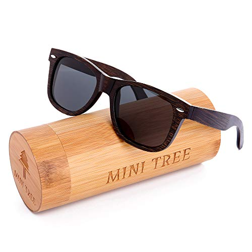 (Mini Tree Mens Polarized Sunglasses Replacement for Fishing Handcraft Bamboo Vintage Shades For Women (Black, Gray))