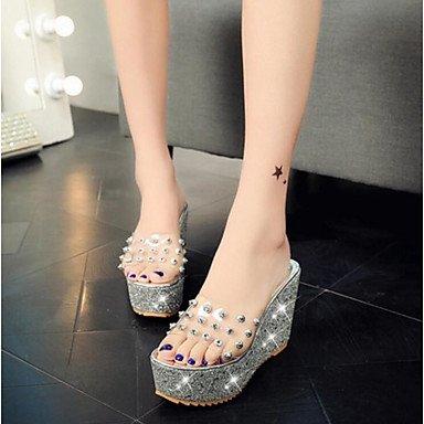 RUGAI-UE Moda de Verano Mujer sandalias casuales zapatos de tacones PU Confort pasear al aire libre,verde,US6 / UE36 / UK4 / CN36 Silver