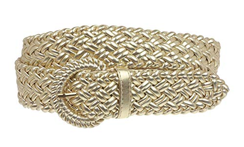 - MONIQUE Women 100% Hand Made Metallic Braided Woven Non Leather 32mm Belt,Gold S - 31