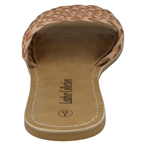 Nu À Mule En Plat beige Cuir Collection Tissage Dames Sandales De wz0xgI